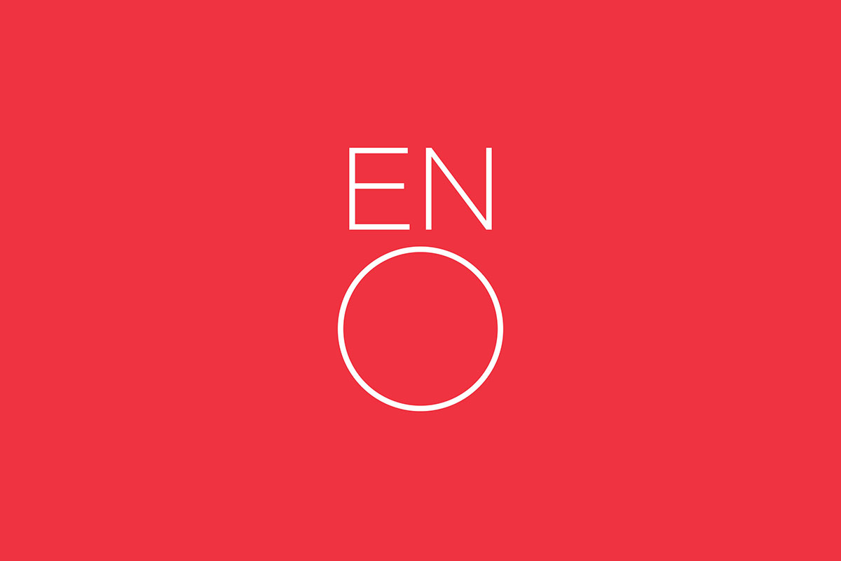ENO's 1991 logo, created by Mike Dempsey, has been redesigned in a lighter font - a bespoke version of Lineto typeface Brown