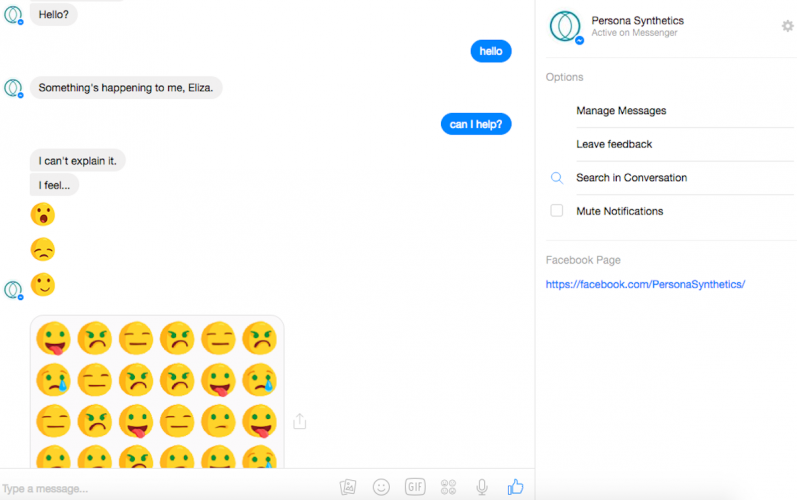 Facebook Messenger conversation with a synth from Persona Synthetics