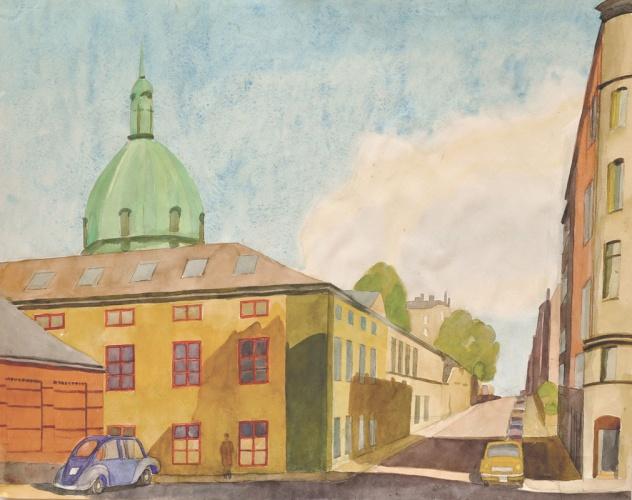 Artillerigatan, Stockholm, painted by Josef Frank between 1953 and 67. ©Anna Sievert