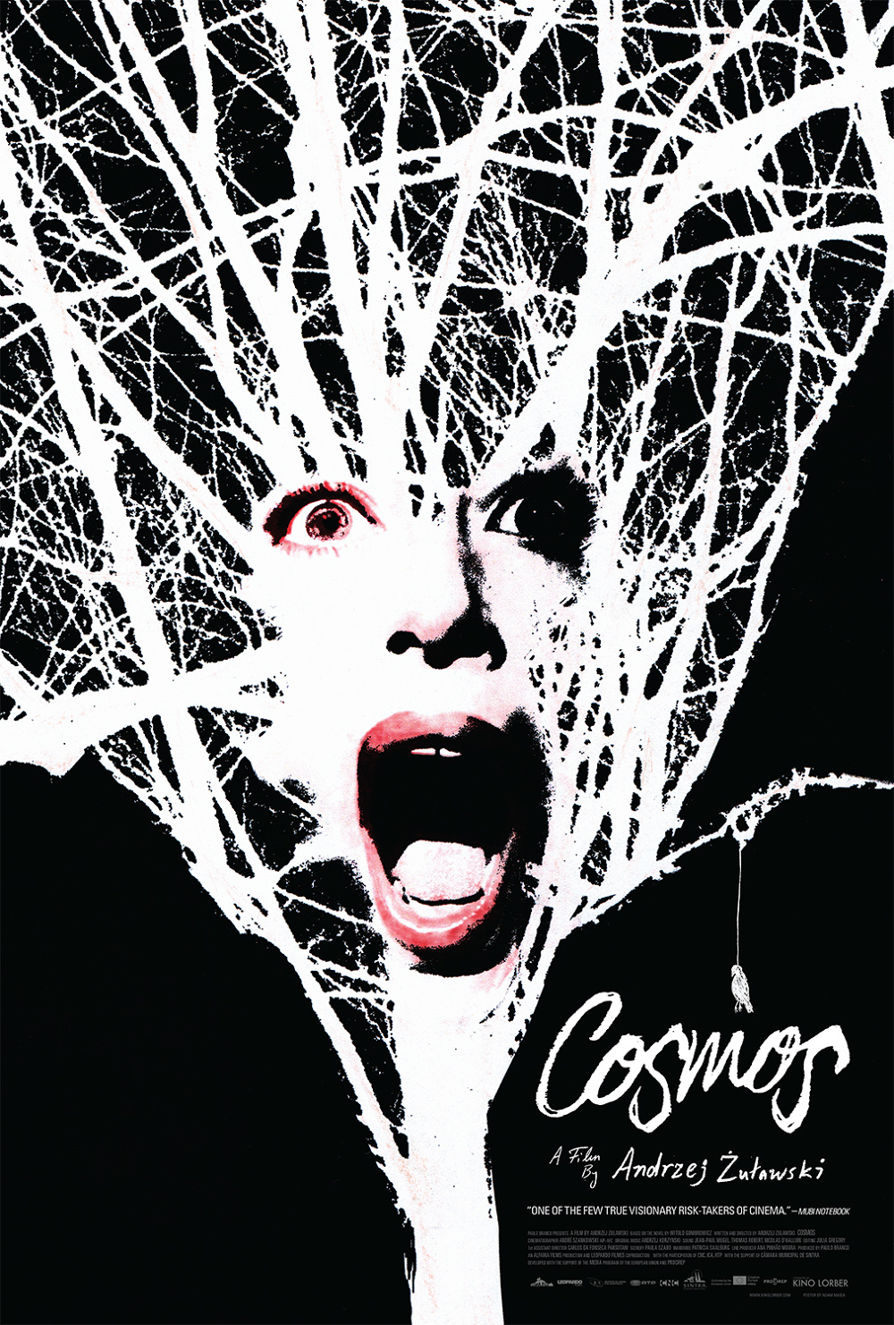 Cosmos film poster, featuring artwork by Adam Maida. The black-and-white artwork is reminiscent of Maida's photomontages for the New York Times