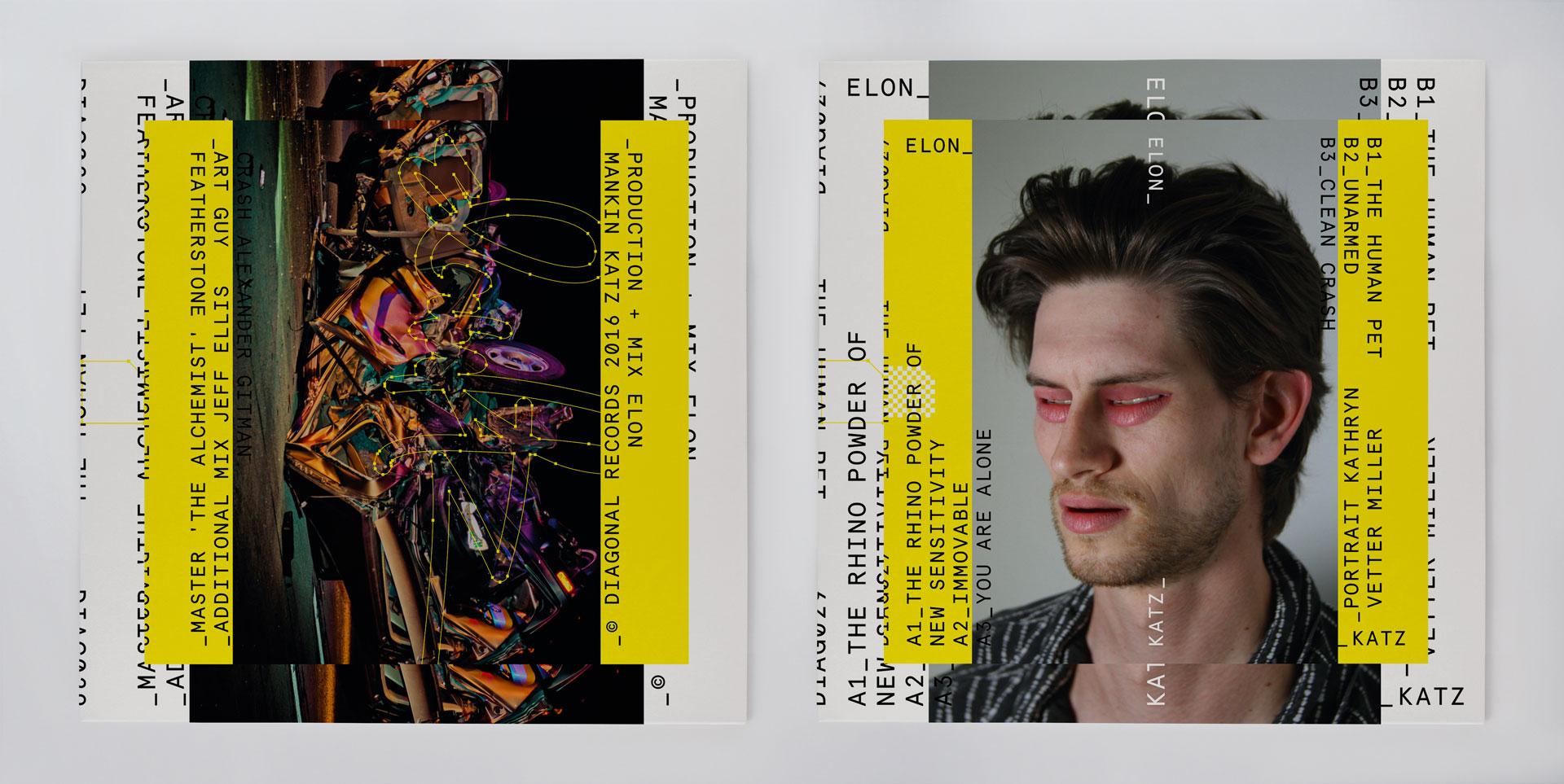 Elon Katz, The Human Pet LP, 2016 (DIAG029). Photography: Katie Miller (front) and Alex Gitman (back)