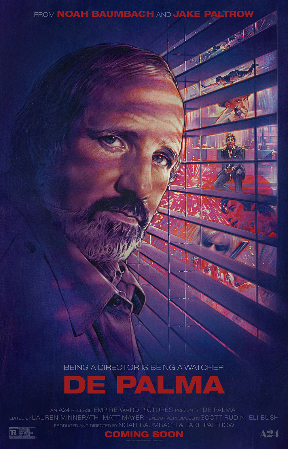 De Palma poster, designed by BLT Communications with artwork by Steven Chorney
