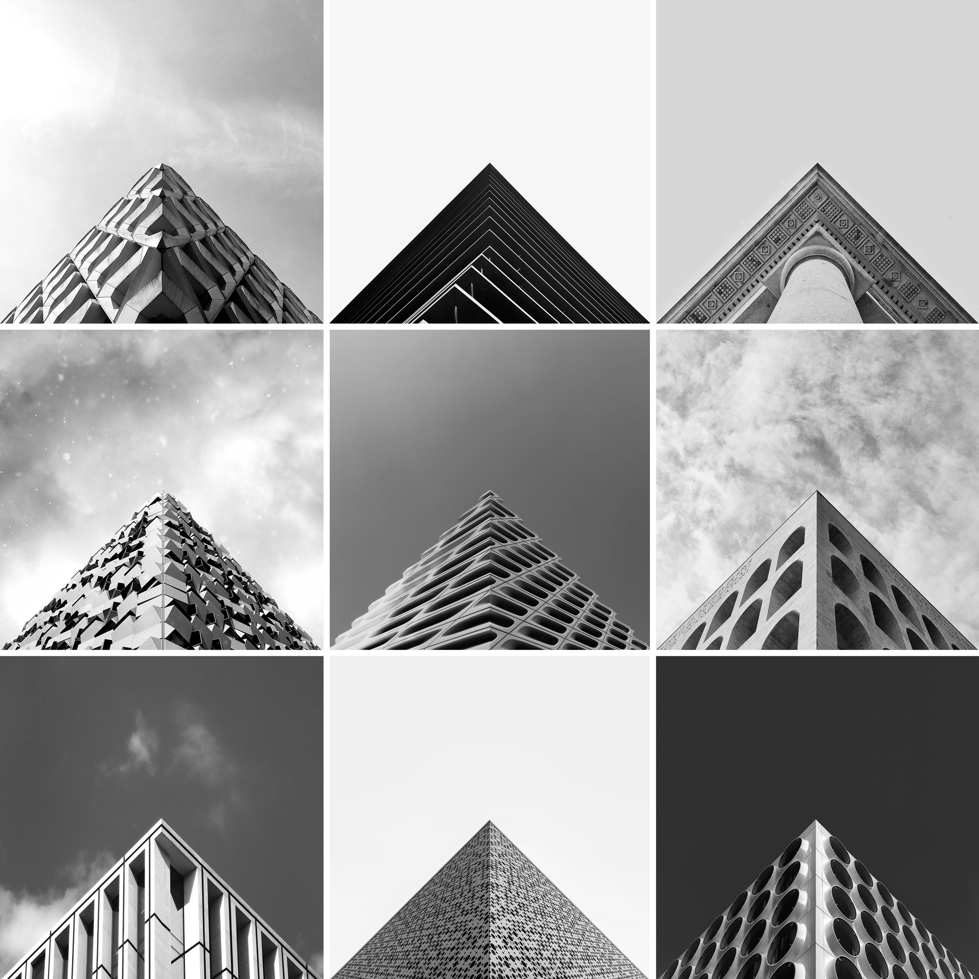 A selection of images featured on Dave Mullen's Instagram account, @geometryclub