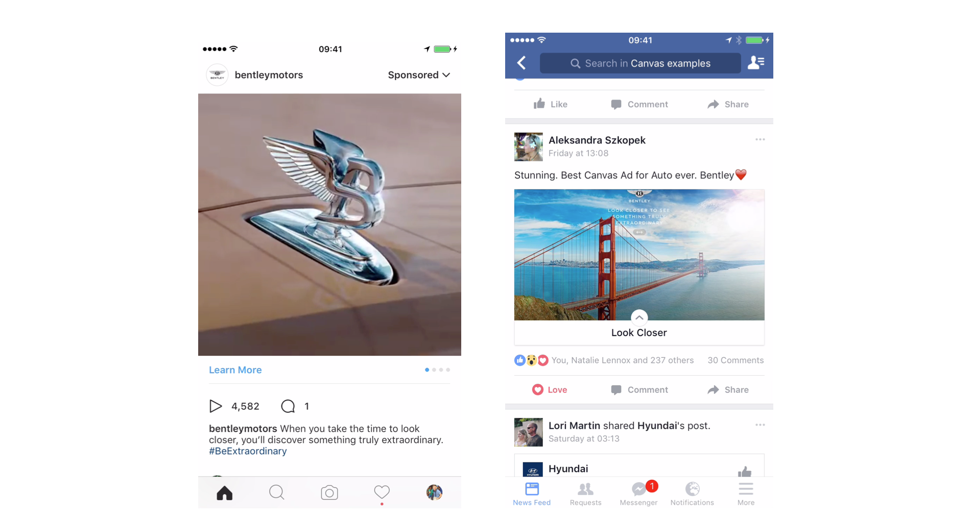 Instagram and Facebook content promoting Bentley's 53 billion pixel image of its Mulsanne model