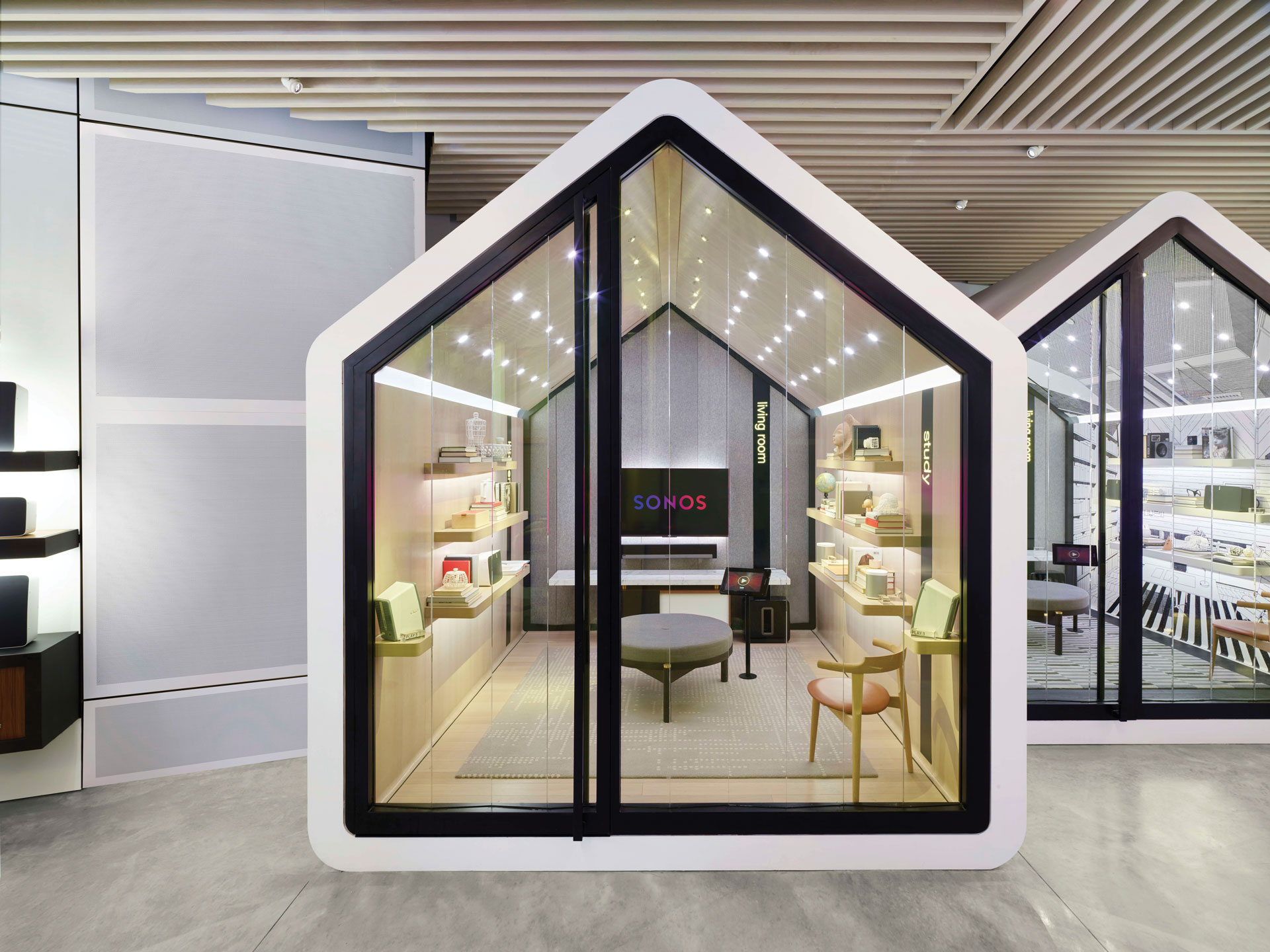 A listening room at the Sonos store