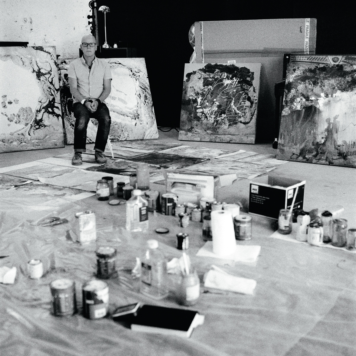 Donwood with his artworks