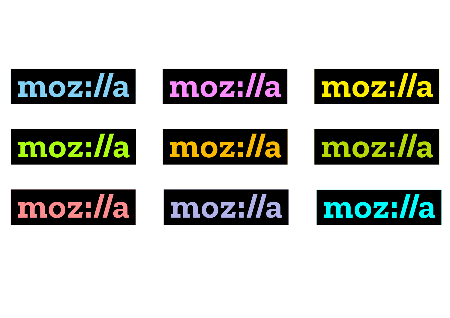 The new Mozilla logo and suggest colourways