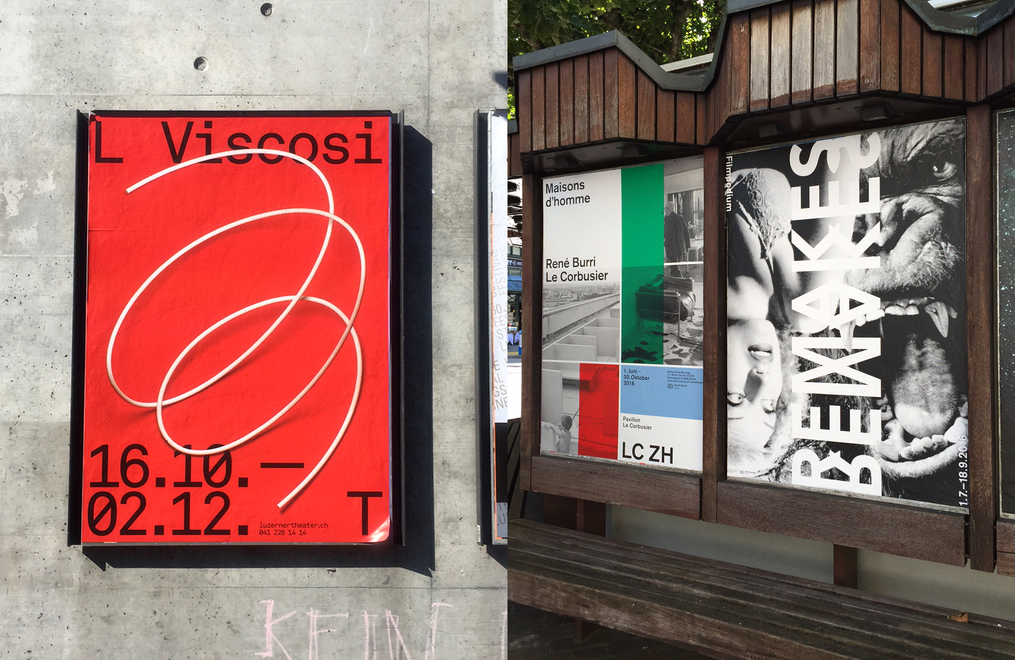 Design by Studio Feixen (left) and posters by Büro 146 and zhdk students (right). Images © Dennis Moya
