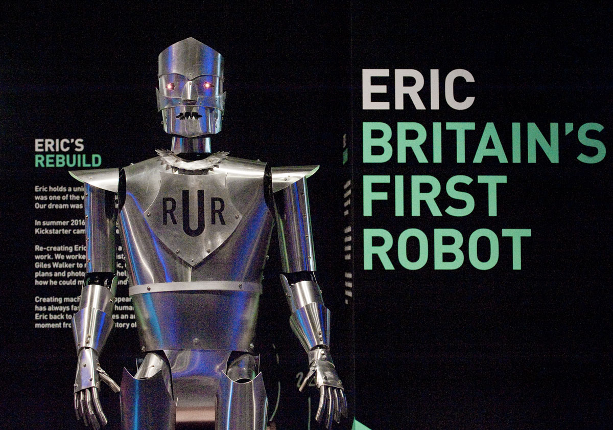 A working replica of UK's first robot at the robots exhibition