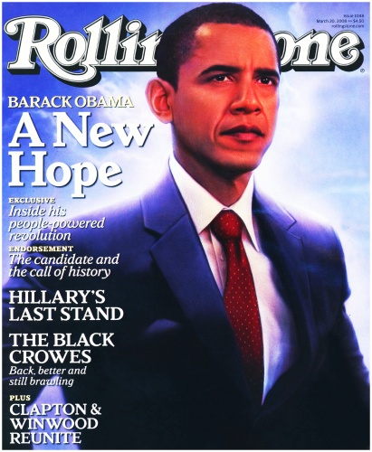 olling Stone's March 2008 issue shows Obama bathed in a heavenly light