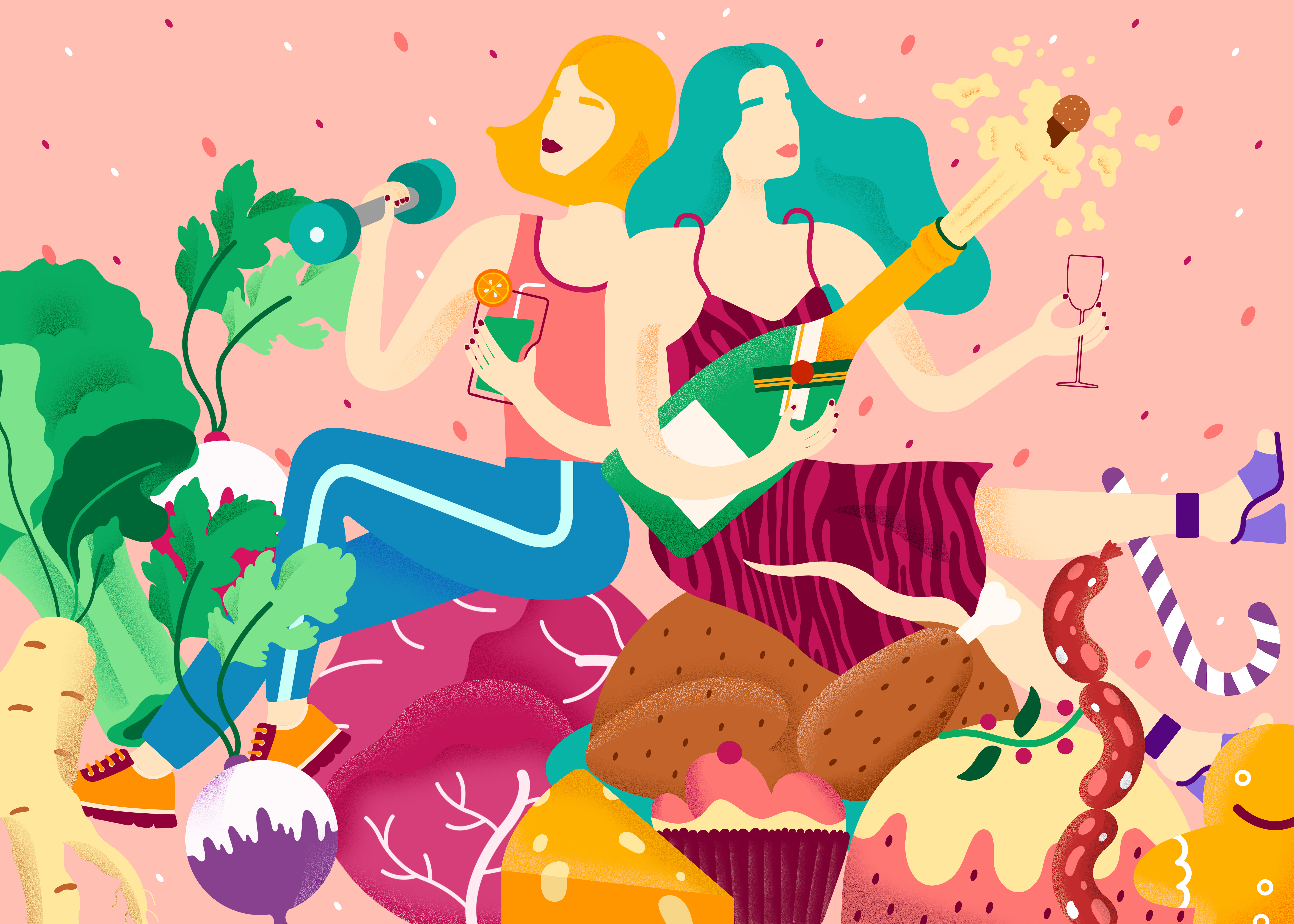 Illustration for an article on January detoxing in The Washington post