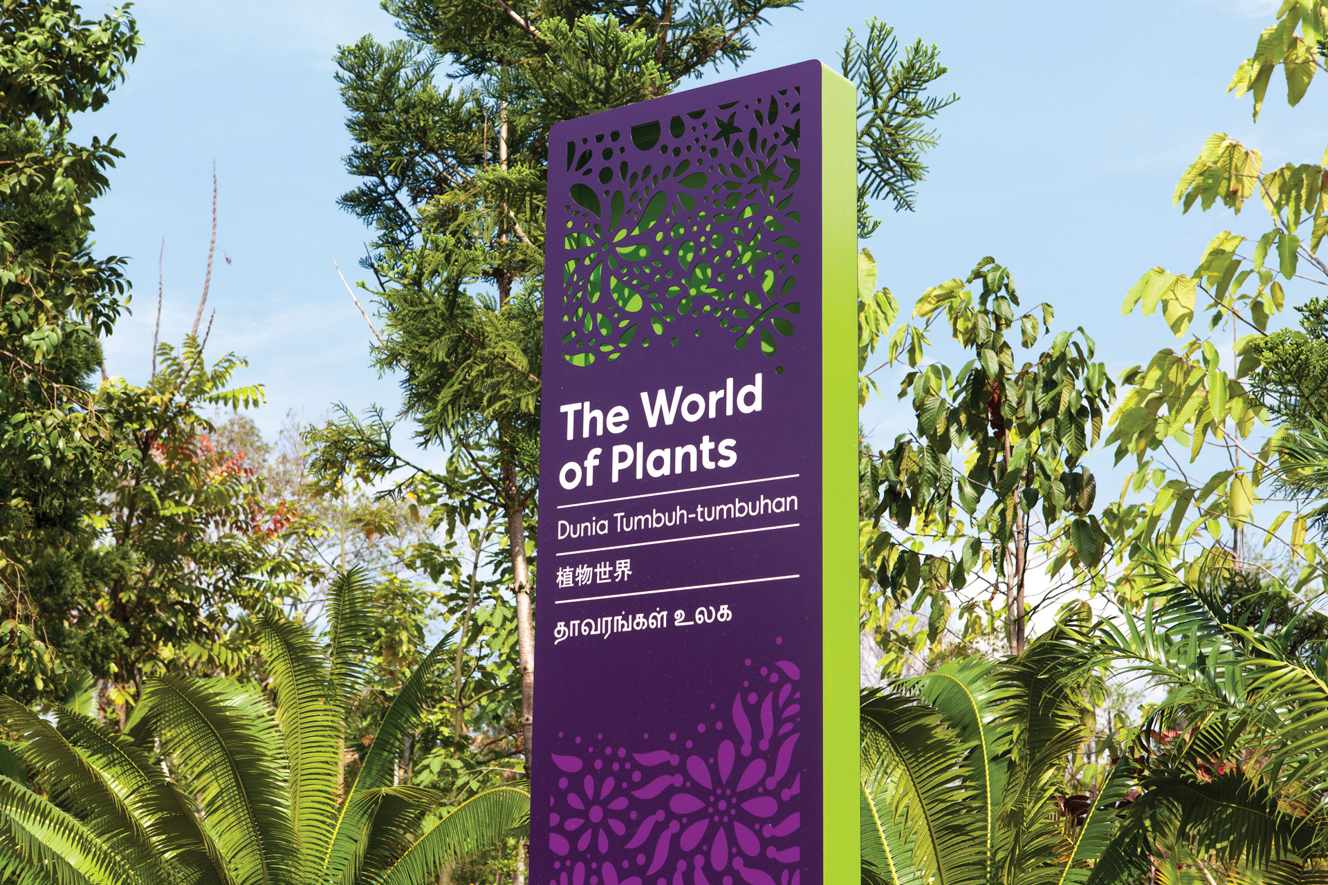 "homas.Matthews worked on the identity and wayfinding system for Gardens By the Bay, a major leisure destination in Singapore (2012). In representing a diverse environment and taking inspiration from ""Singaporean culture, paper-cutting and the paintings of Rousseau (the client's favourite artist)"""