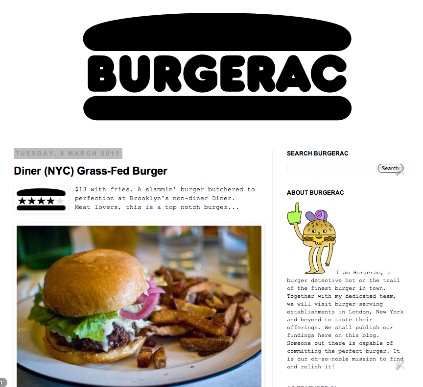 The Burgerac blog from 2011 by Gavin Lucas