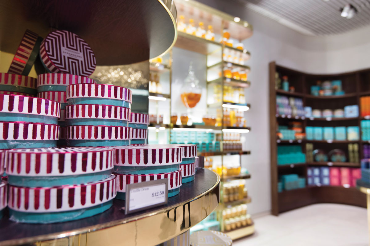 Displays of handmade chocolates at Fortnum and Mason