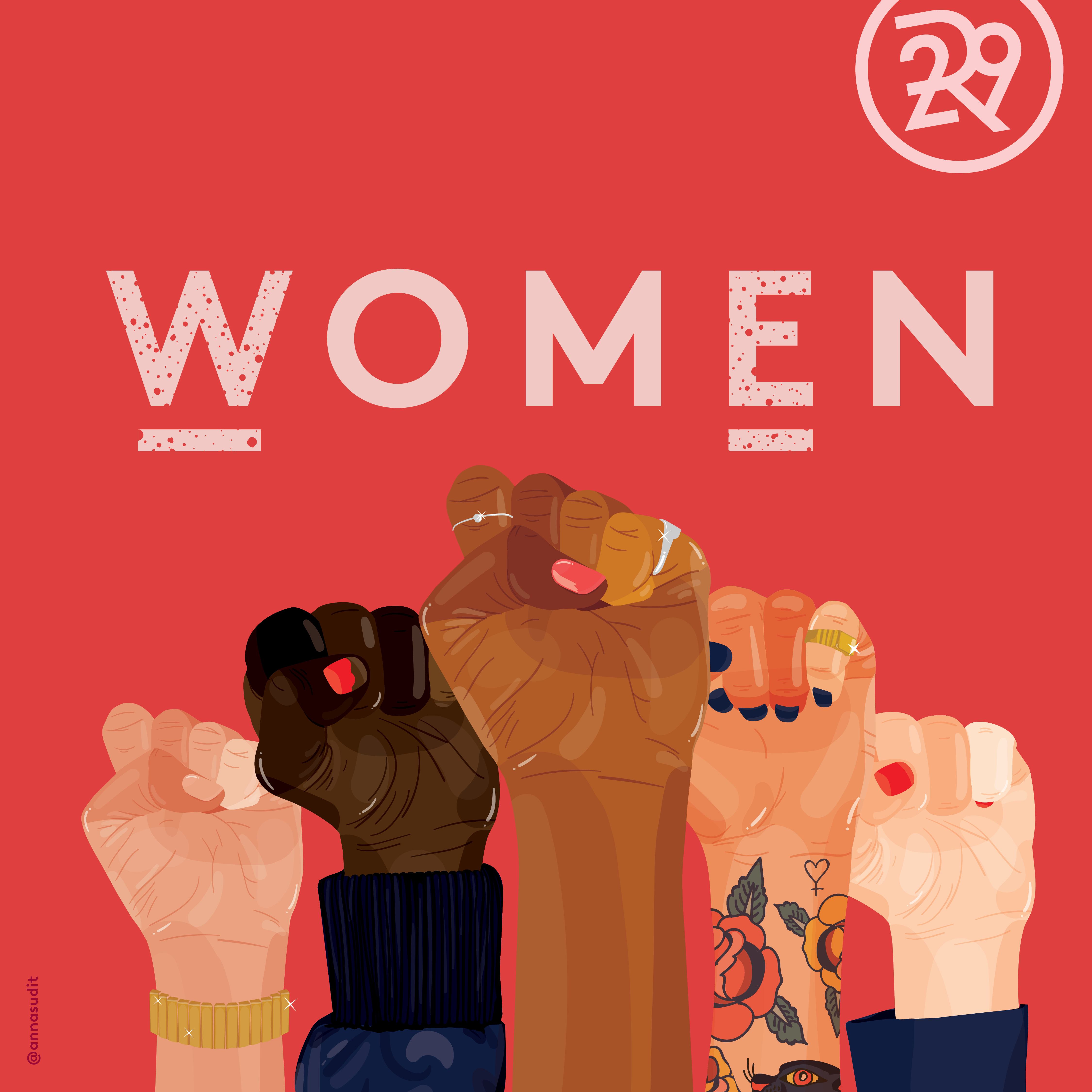 Poster created by Anna Sudit for Refinery29 in support of the Women's March earlier this year. Refinery29 commissioned a series of posters that women could download and print out
