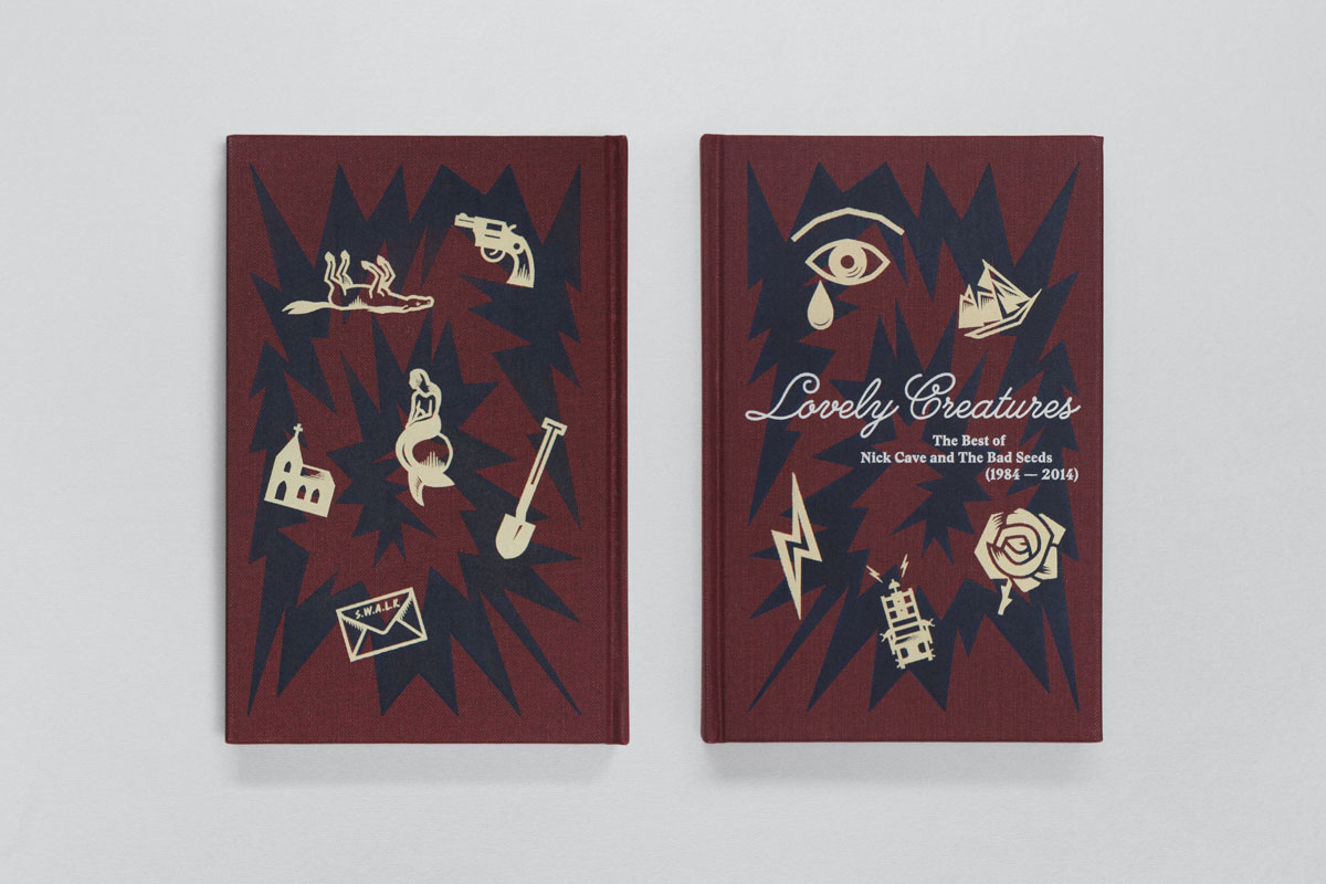 The deluxe edition of Lovely Creatures: The Best of Nick Cave and The Bad Seeds contains three CDs plus a DVD and a hardback book (pictured). It was designed by Tom Hingston Studio