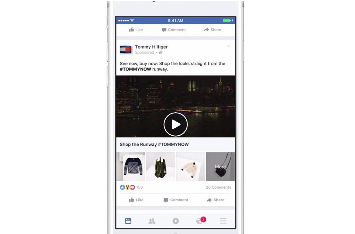 Fashion brand Tommy Hilfiger used Facebook's Collection format to promote the launch of its Fall 2016 range