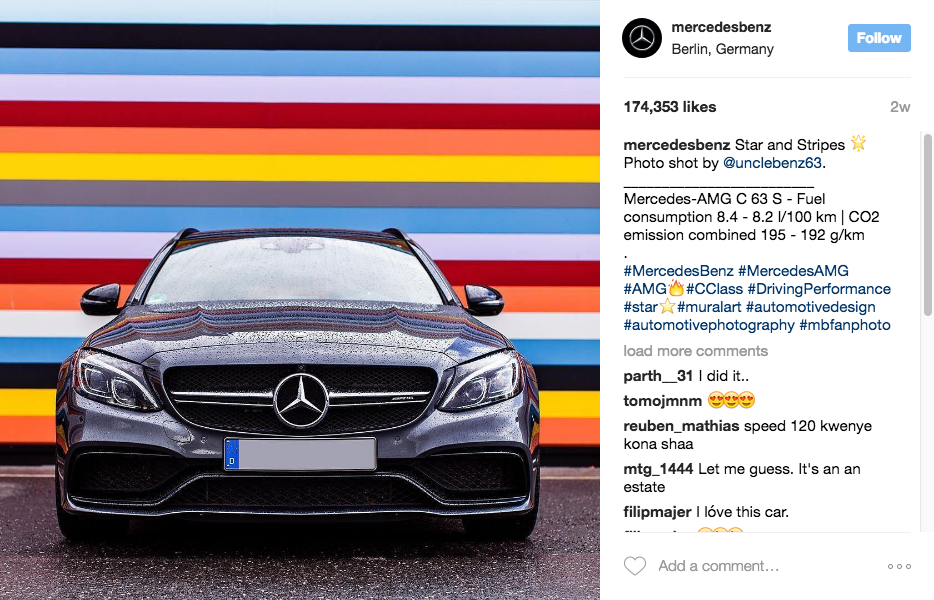 Insights how car brands can use instagram for Mercedes benz instagram