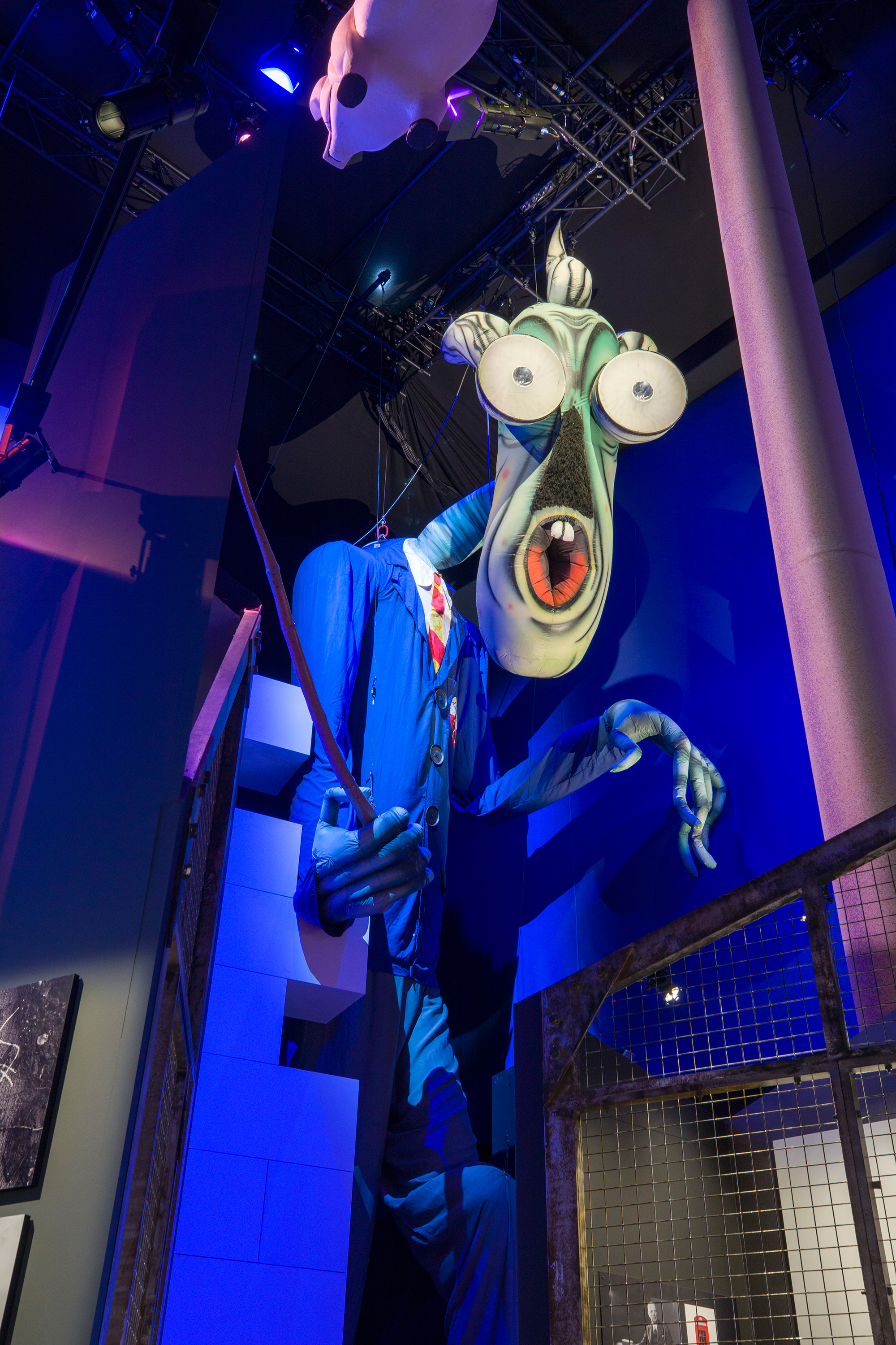 Inflatable 'Teacher' from Roger Waters' tour of The Wall, on show at The Pink Floyd Exhibition: Their Mortal Remains. The character was designed by Gerald Scarfe. Image courtesy of the V&A