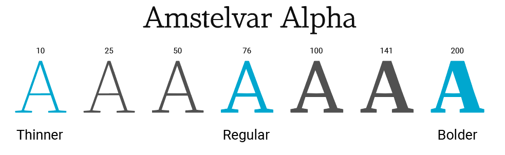 Typeface Amstelvar, designed by David Berlow, type designer and typographer at Font Bureau.
