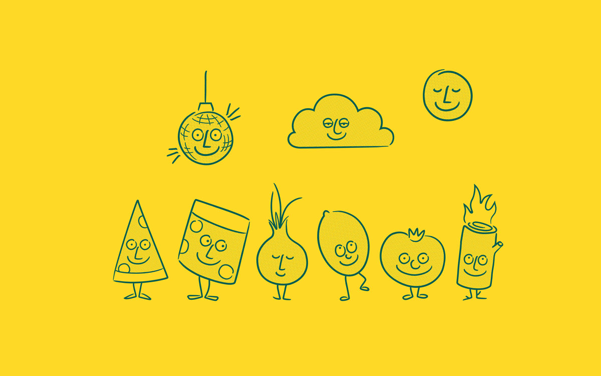 Pentagram's super smiley identity for Happy Face pizzeria