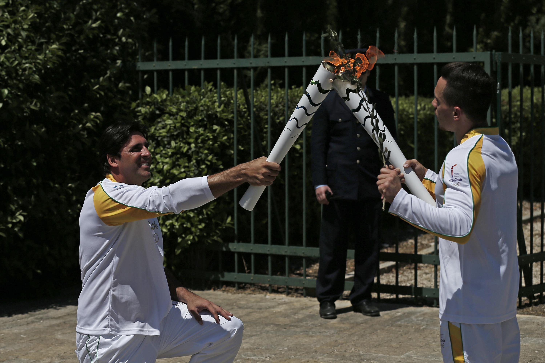 Cerimônia de acendimento da Chama Olímpica Rio 2016 e início do revezamento grego no sítio arqueológico do Templo de Hera.