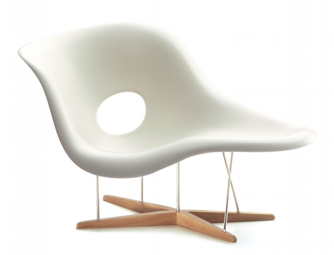 Eames La Chaise chair, Charles & Ray Eames, 1948 Vitra Miniatures Collection. The Eames' chair collections are examples of designs that will be covered by the new copyright ruling.