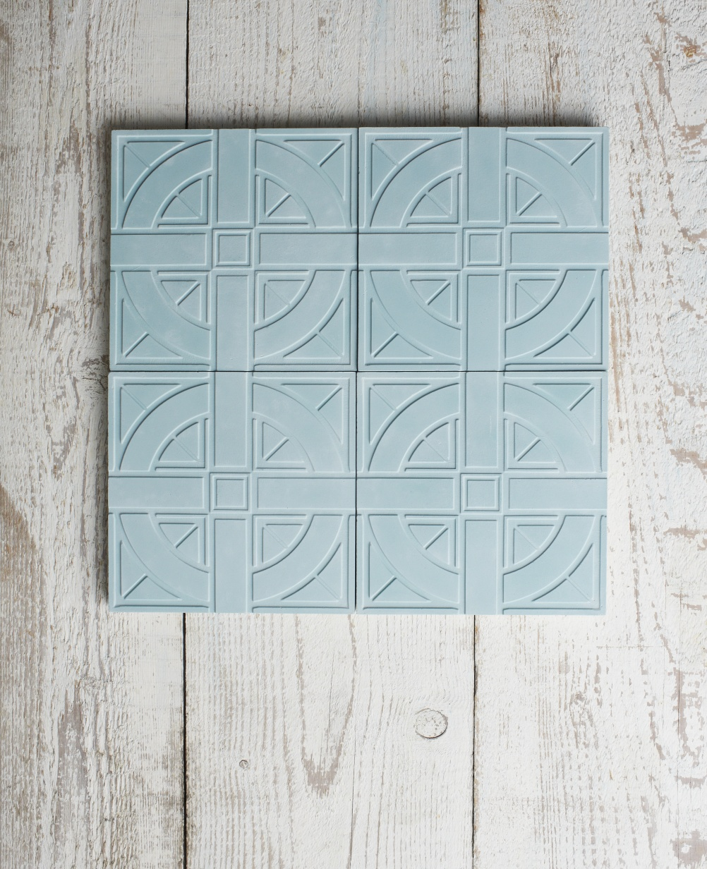 London Underground inspired cement tiles, by Lindsey Lang