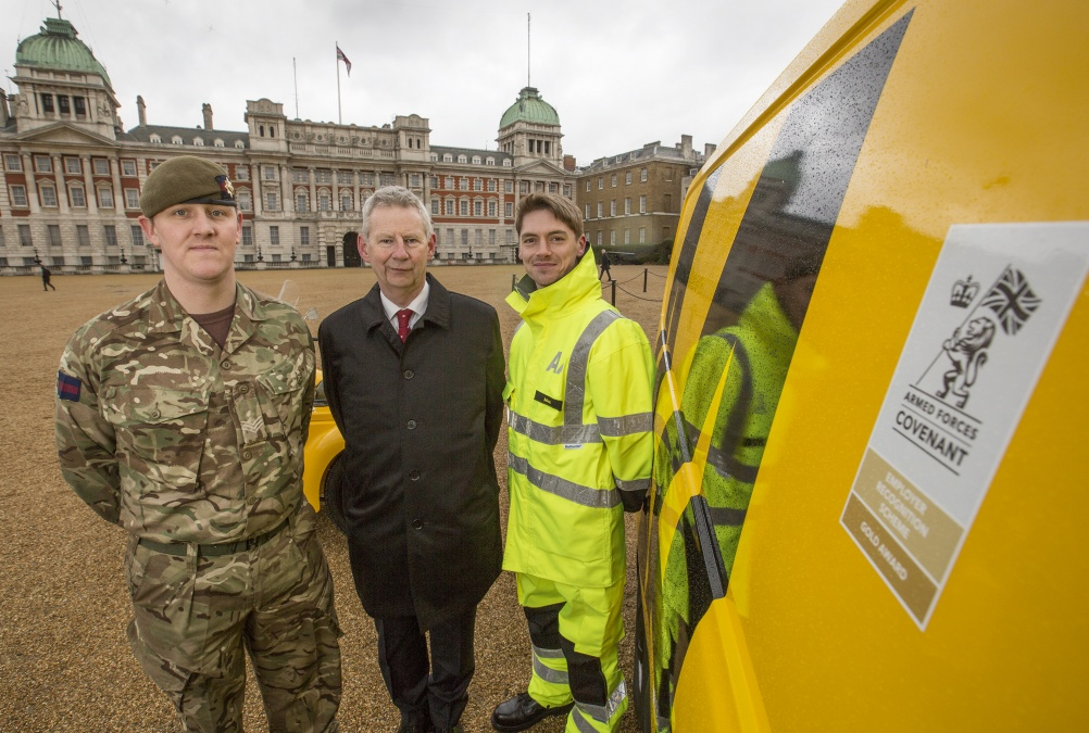 Pictured L-R: Sergeant Patrick Nelson from the Irish Guards, AA President Edmund King and AA patrolman Max Holdstock. The Defence Secretary Michael Fallon, has recognised employers who have made an outstanding commitment to support the Armed Forces, presenting gold awards to the winners of the Armed Forces Covenant Employer Recognition Scheme (ERS). He met with officials from National Express coaches and the Automobile Association at Horsguards Parade in Whitehall, London, along with Serving and ex serviceman Duane Porteous. He served in 23 Pioneer Regiment, Royal Logisitics Corps for six and a half years. He has been a coach driver for National Express for the past two years.