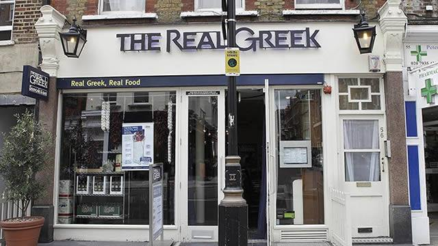 The previous branding for The Real Greek