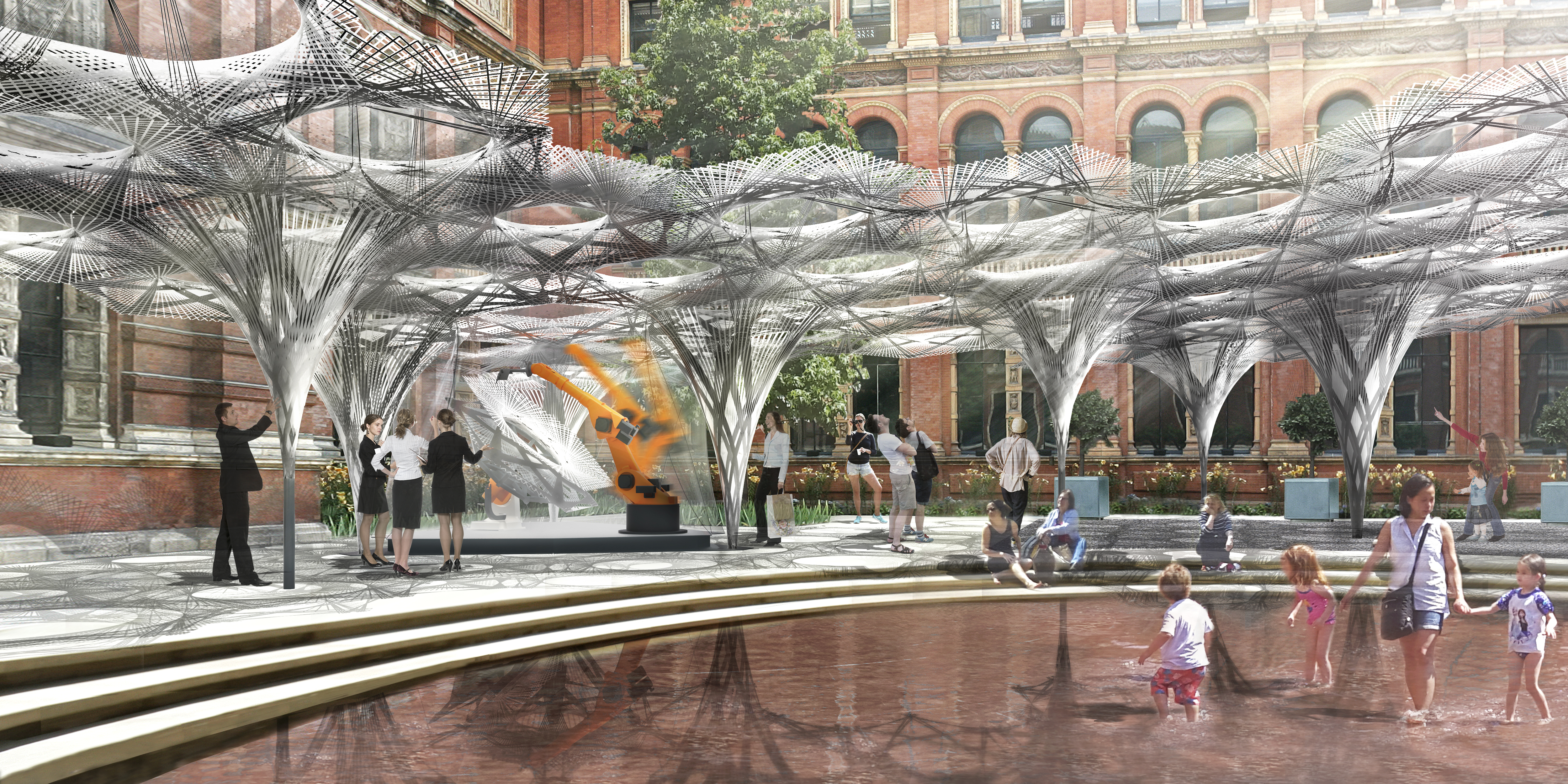 Elytra Filament Pavilion, render, V&A John Madejski Garden 2016  © ICDITKE University of Stuttgart (2)