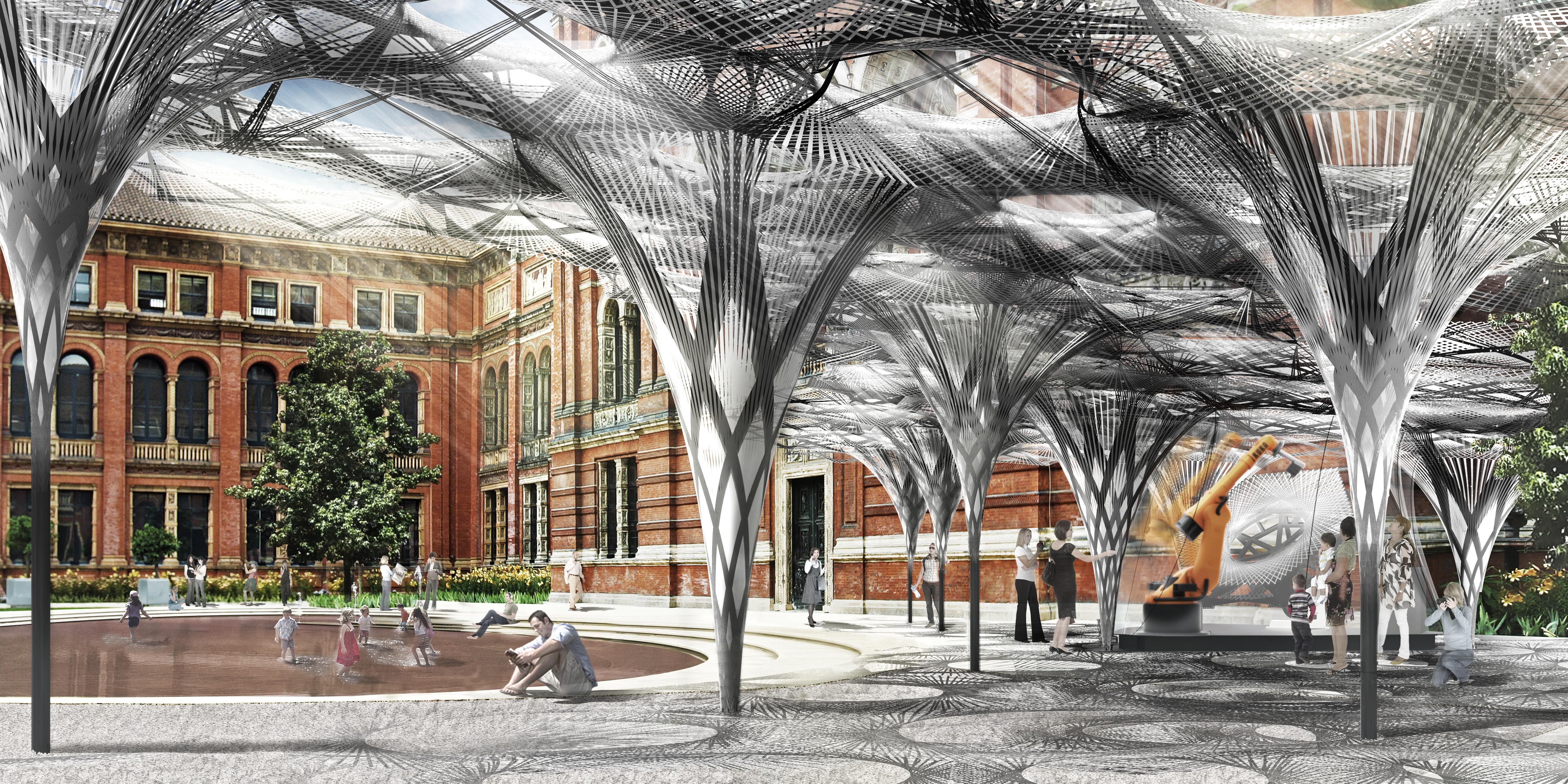 Elytra Filament Pavilion, render, V&A John Madejski Garden 2016 © ICDITKE University of Stuttgart