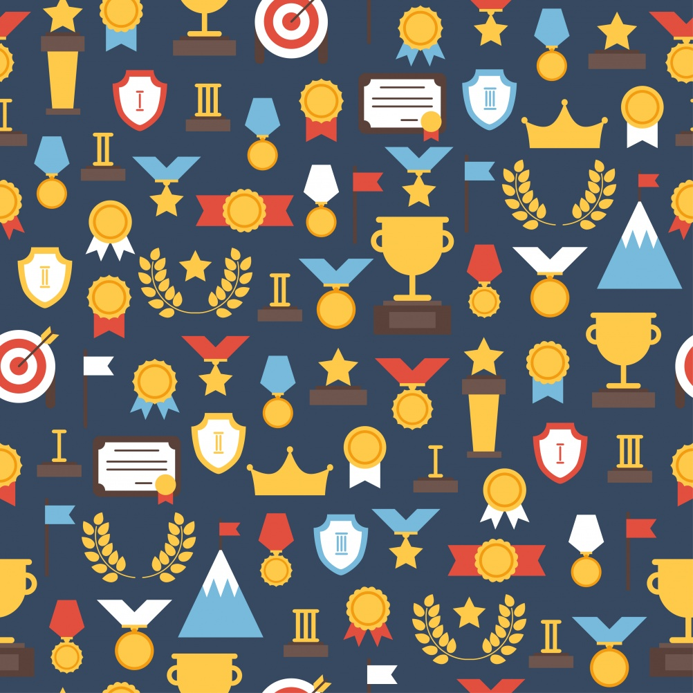 Seamless pattern of  award icons. Vector colorful set of prizes and trophy signs. Design elements.