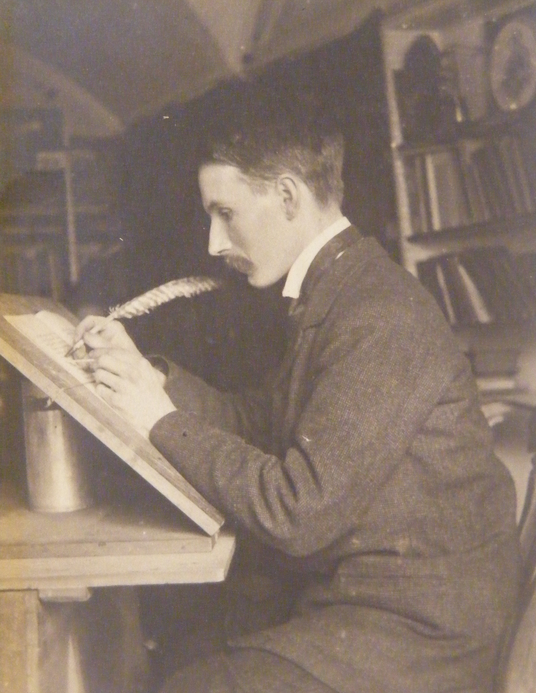 Edward Johnston at his desk