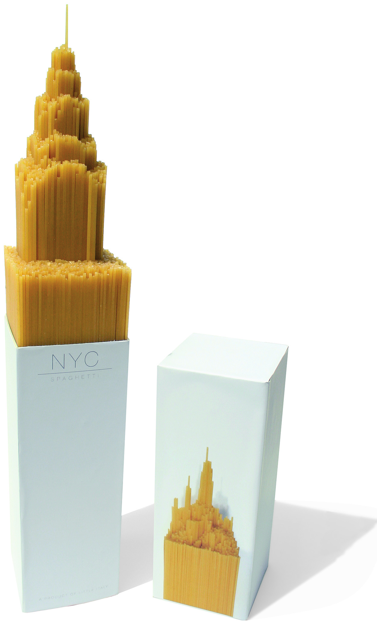 NYC Spaghetti: a mould at the base of the pack creates the spaghetti formation at the top. Alex Creamer, UK, 2000.  Designer Alex Creamer; 3D modeller Ben Thorpe; tutors Billy Harkcom, Andrew Bainbridge, Jon Harker