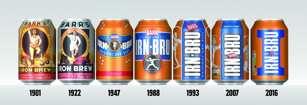 A timeline of Irn-Bru can designs through the ages