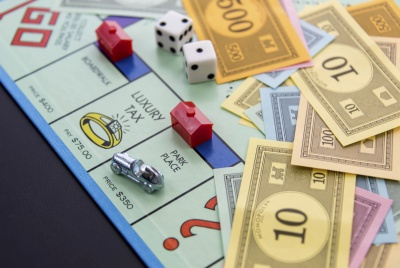 February 8, 2015: Houston, TX, USA. Monopoly game board with ca