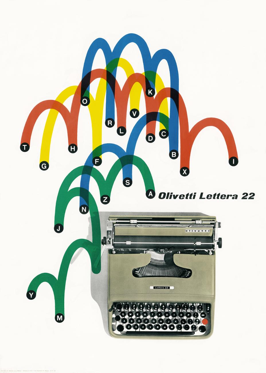 Olivetti Lettera 22, poster by Giovanni Pintori (1954). Courtesy Associazione Archivio Storico Olivetti, Ivrea – Italy