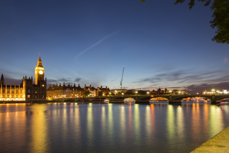 3 Westminster Bridge, looking north from The Queen's Walk, and with the Palace of Westminster adjacent to its north bank