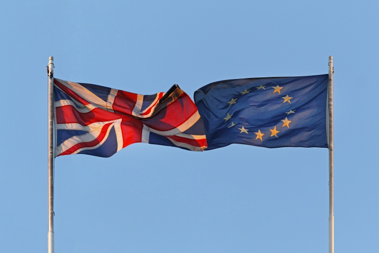 UK and EU flags coalition together