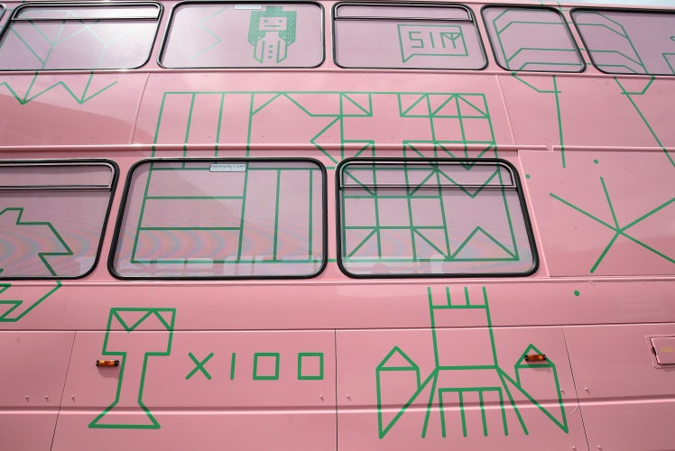 As part of the Biennial's Children's Episode, a group of schoolchildren from Childwall Academy have worked with artist HATO to design an Arriva double decker bus (two other buses are being designed by other Biennial artists). The design will contain coded messages from outer space for the future of Liverpool. The 'space bus' pays homage to messages taken on board NASA's Voyager spacecraft in 1977, which contained sound and images depicting life on Earth. Images by Gareth Jones
