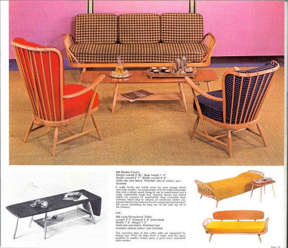 1965 ercol catalogue showing 355 ercol Studio Couch Reproduced by kind permission of ercol