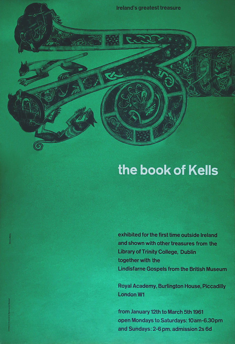 Exhibition catalogue cover for The Book Of Kells exhibition at the Royal Academy (1961)