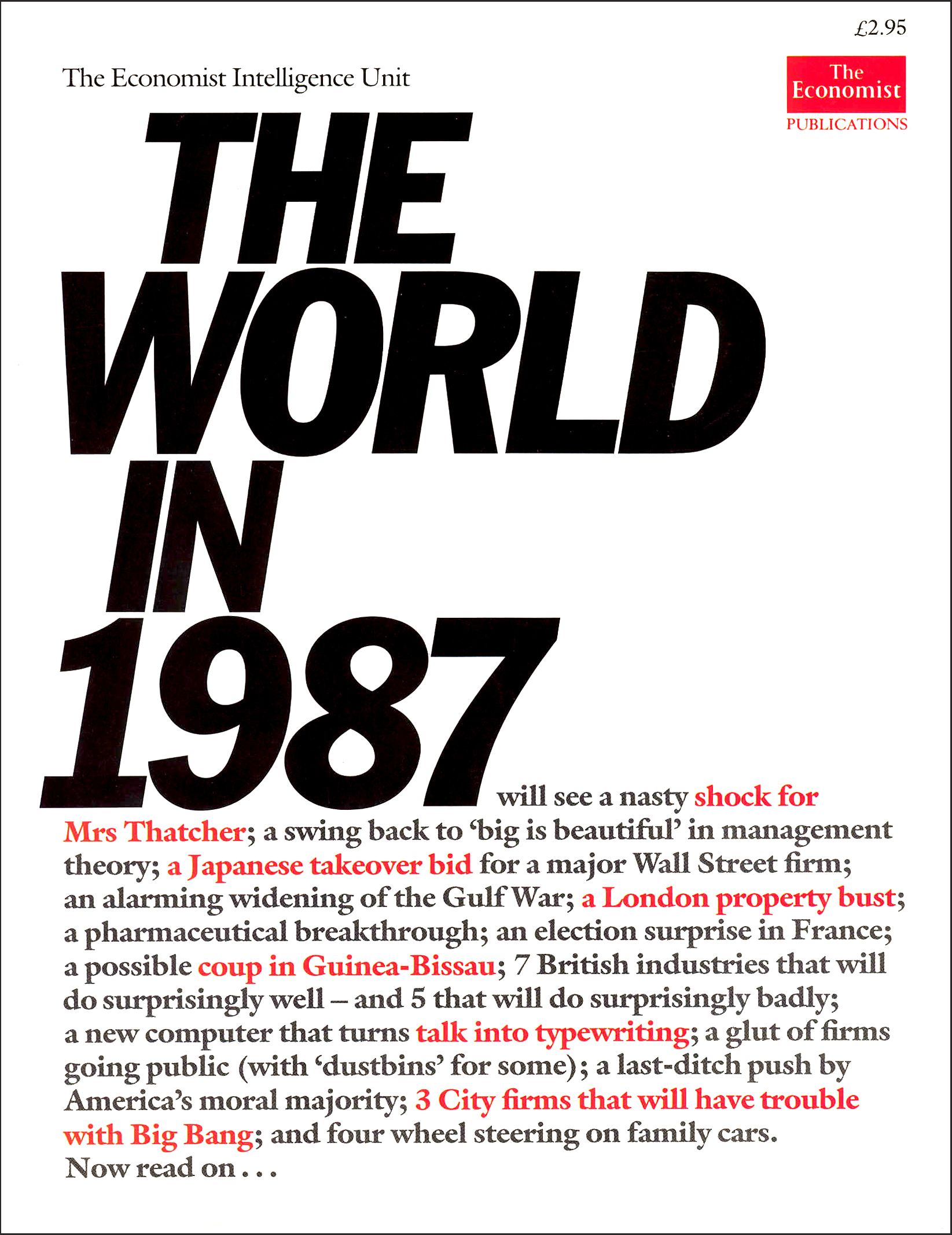Cover for The World in 1987, first of an annual magazine series for The Economist