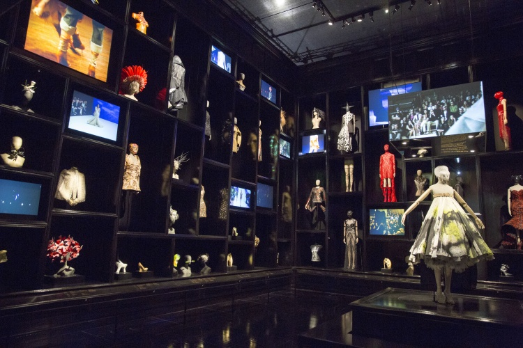 Installation view of 'Cabinet of Curiosities' gallery, Alexander McQueen Savage Beauty at the V&A (c) Victoria and Albert Museum London