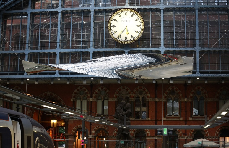 LONDON, ENGLAND - JULY 07: 'Thought of Train of Thought, 2016' by Royal Academician Ron Arad is unveiled at St Pancras International station on July 7, 2016 in London, England. The piece has been commissioned for Terrace Wires, co-presented by HS1 Ltd. and the Royal Academy of Arts. (Photo by Tim P. Whitby/Getty Images for Terrace Wires)