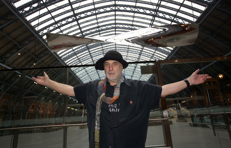 LONDON, ENGLAND - JULY 07: Royal Academician Ron Arad unveils 'Thought of Train of Thought, 2016' at St Pancras International station on July 7, 2016 in London, England. The piece has been commissioned for Terrace Wires, co-presented by HS1 Ltd. and the Royal Academy of Arts. (Photo by Tim P. Whitby/Getty Images for Terrace Wires) *** Local Caption *** Ron Arad RA