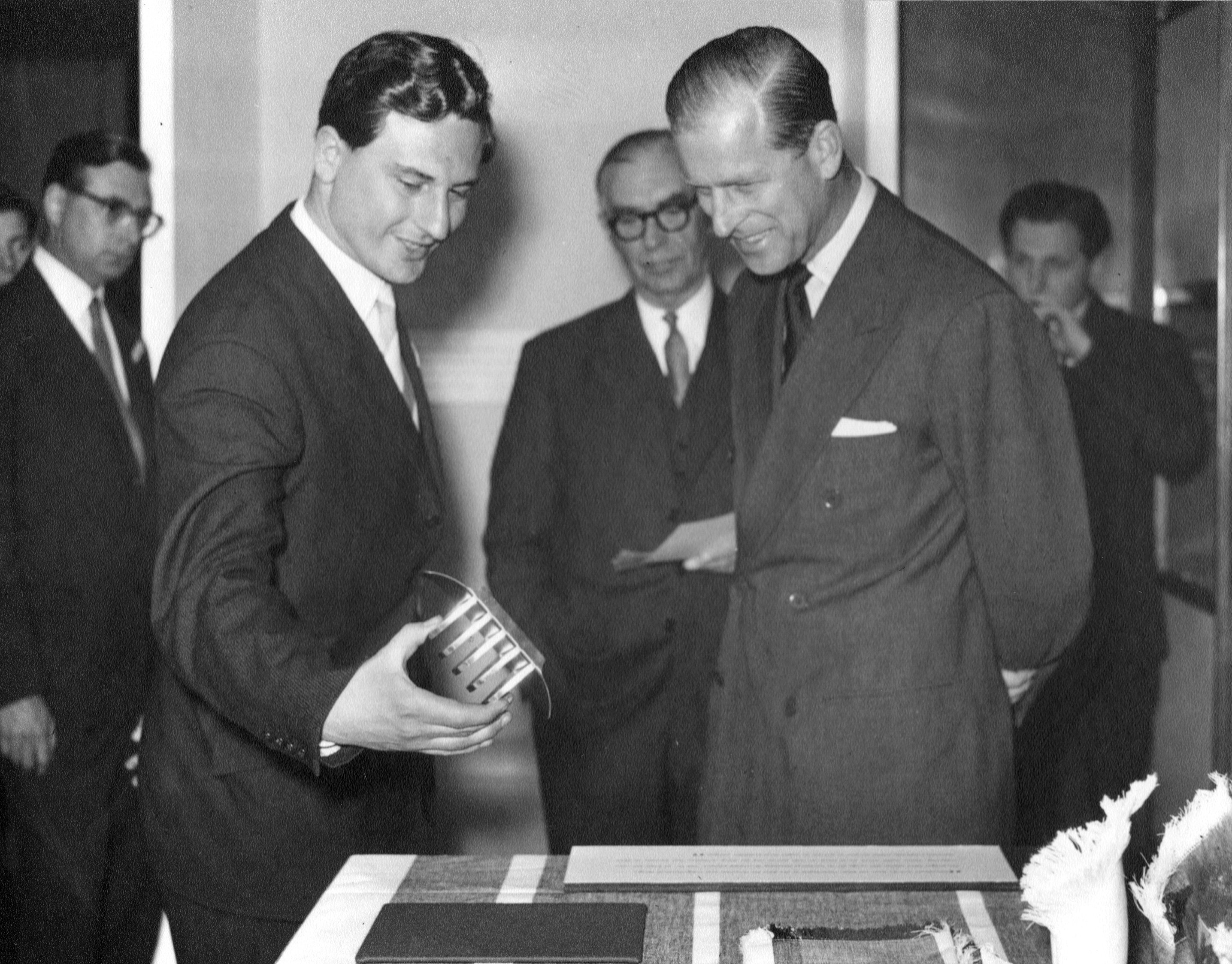 Robert Welch receiving a design award from HRH Duke of Edinburgh in 1957