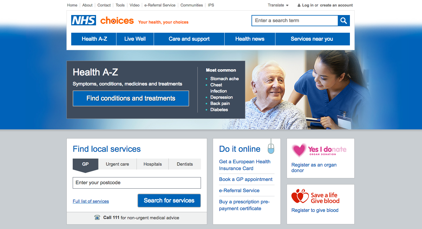 The current nhs.uk website