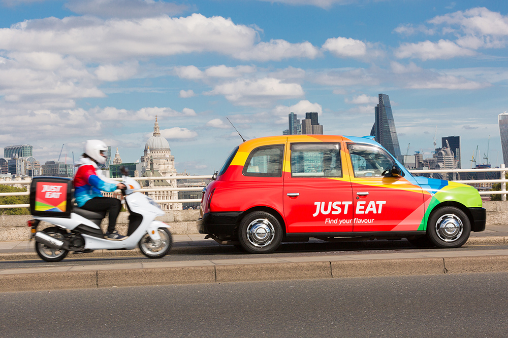Just Eat taxi and scooter